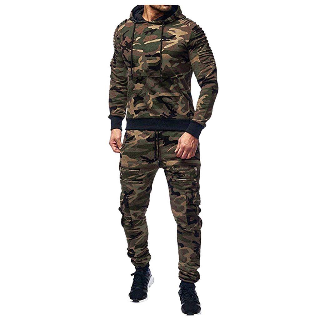 Autunno degli uomini utensili da uomo tasca a maniche lunghe con cerniera con cappuccio giacca con cappuccio pantaloni esercito verde stampa tuta sportiva # lr2