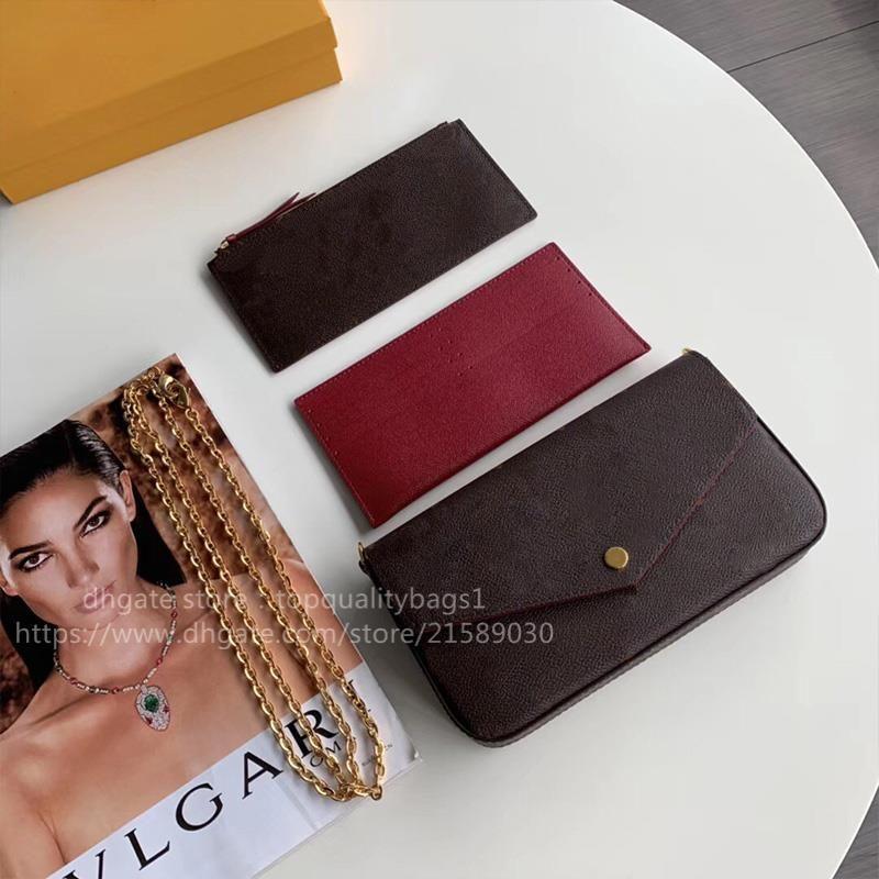 Hot Venduto Fashion Genuine Pelle Pelle Top Quality Donne Lussurys Designer Borsa a tracolla Classic Letter Cinque Portafoglio catena con scatola Shipin
