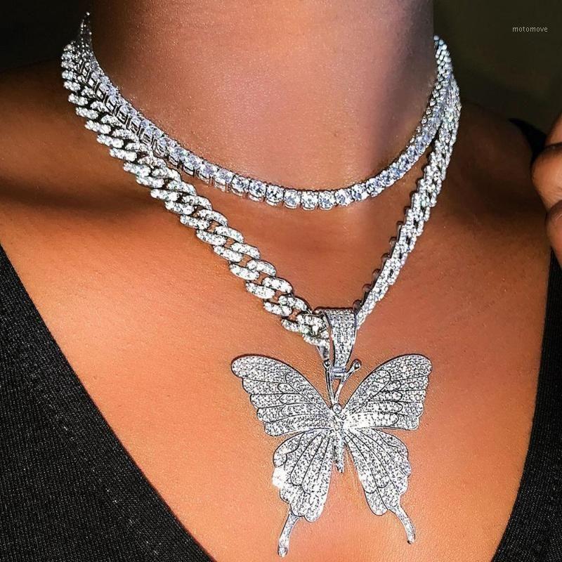 الكوبي ربط سلسلة المختنق قلادة فراشة قلادة للنساء الهيب هوب مثلج من حجر الراين قلادة مجوهرات 1