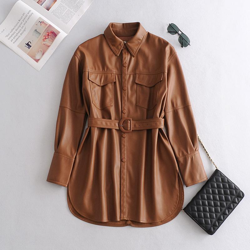 2021 Новая женская однобортная уличная одежда Кожаные куртки из плутония куртка с поясом Rziw