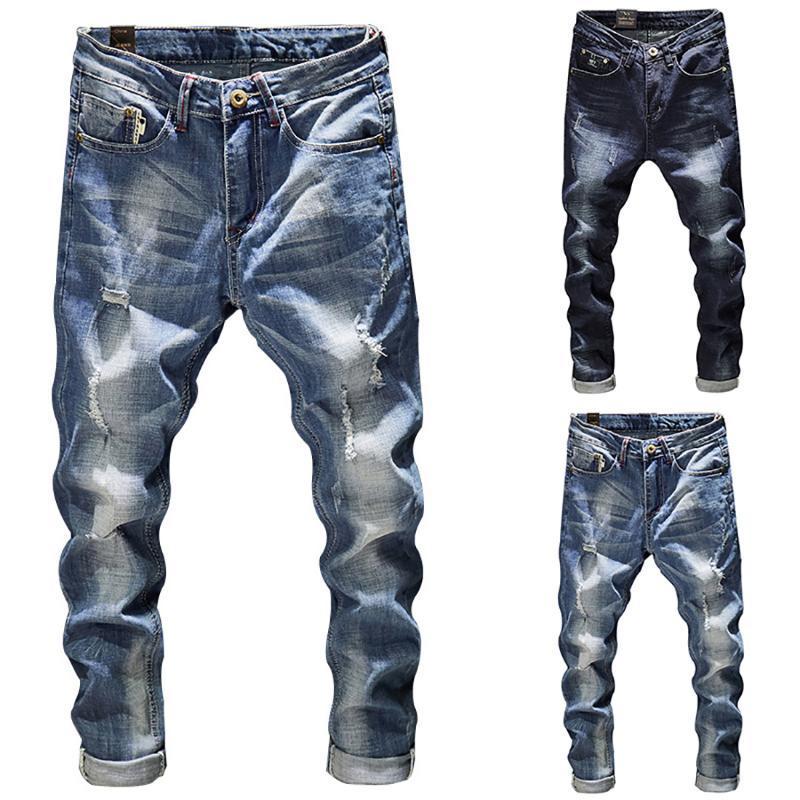 Jeans Slim Fit Ripped Hommes Bleu clair extensible Mode Streetwear effiloché Hip Hop Distressed Denim Jeans Casual Pantalons Pantalons Homme