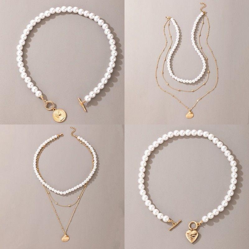 Frauen Pearl Collarbone Halskette Dame Mehrschicht Überzogene Gold Liebe Herz Anhänger Mode Pullover Kette Neue Ankunft 4 28YHA J2