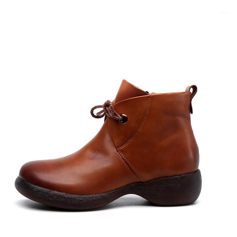 Plataforma de couro genuína feminina botas de trabalho casuais 2019 novos esportes confortáveis convenientes zíper design curto boots1