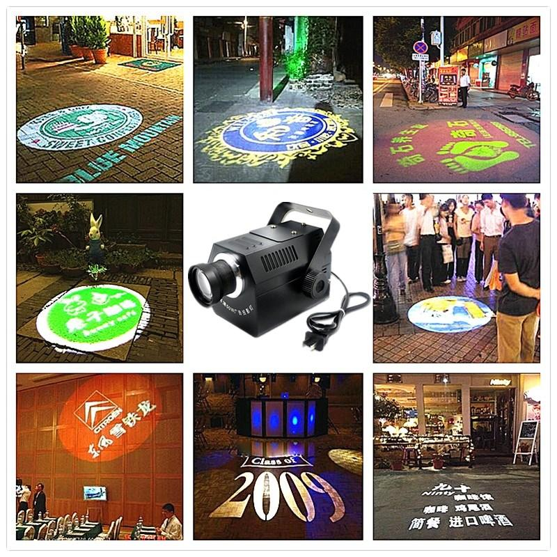 Logo Projector 30W 50W mini-Luz Custom Made Logo Lens Retail Loja Indique Sinal Instruct Aviso Gobo partido Lens discoteca KTV veado