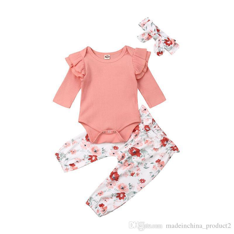 Новорожденный ребенок Romper Набор для новорожденных девочек Твердая Knit шнурка с длинным рукавом Romper Дети Повседневная одежда Set Bow-Tie Маленькая Цветочные штаны с Headband