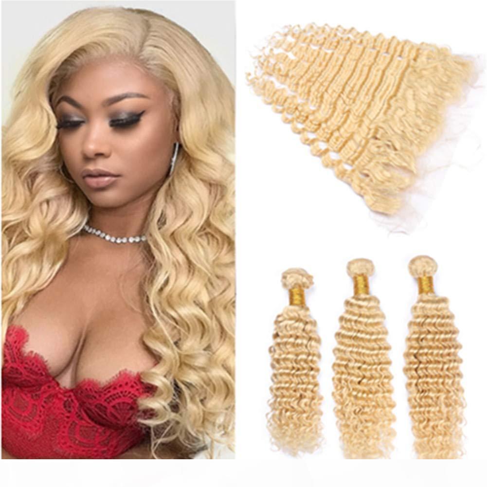 Extensions de cheveux humains blondes péruviennes avec la dentelle fermeture frontale 13x4 profonde vague ondulée # 613 blonde vierge cheveux tissé bundles double wefts