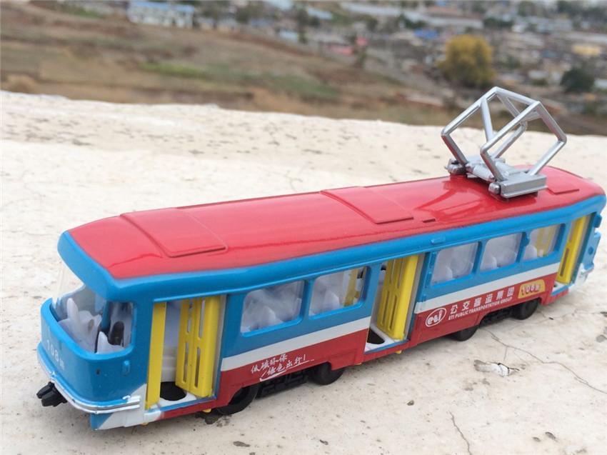 çocuklar hediyeler ücretsiz gönderim için Seyahat 01:32 modeli Central City tramvay Bus alaşım Klasik araba Yüksek ölçekli simülasyon