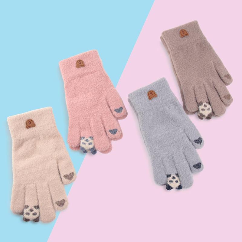 Женщины мультфильм Panda сенсорный экран Толстые Вязаные Теплый Полный пальцев перчатки Варежки Осень Зима Теплый Толстые лыжи перчатки