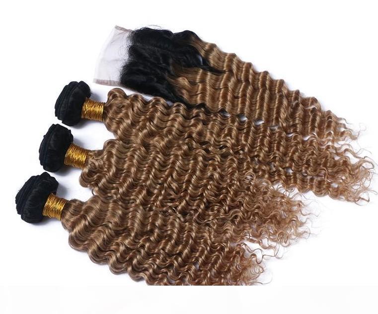 Ombre brésilienne 1b 27 vague profonde couleur des cheveux avec des cheveux faisceaux alignés vierge de fermeture cuticule brésilien