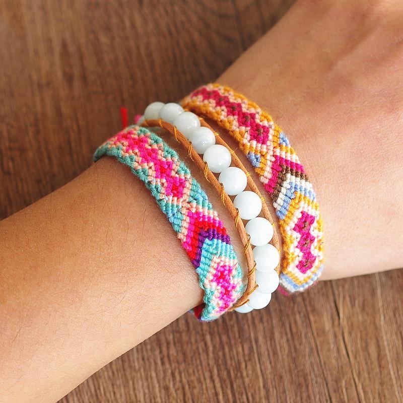 Bracelets Charm 3PCS / комплект Мода ручной работы Ювелирные изделия из бисера Струнные привесы Браслет Браслет Богемия Кожаный набор для женщин Boho Party Party