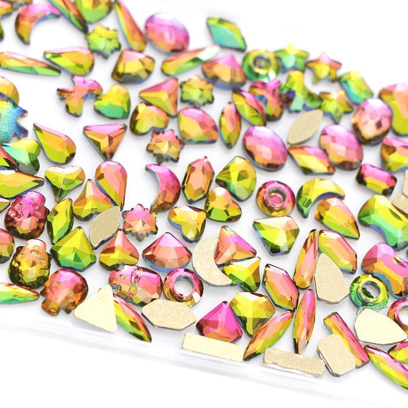 120 pcs super glitter cristal para unhas arte decoração acessórios diy 3d forma misturada charme gemas arte strass jllejt