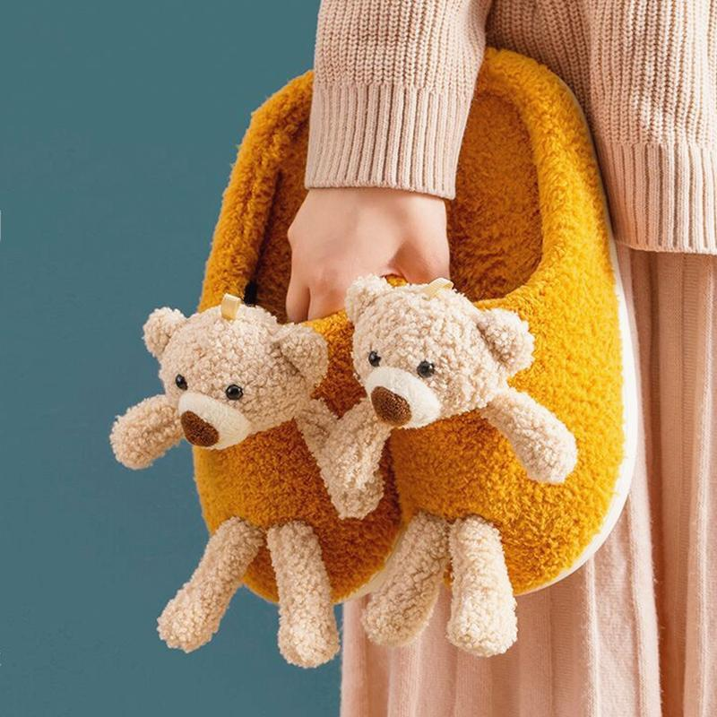 Zapatillas 2021 Invierno Lindo oso-muñeca 3D Diseñador de mujeres Piel Cálida de felpa Driso de felpa Zapatos planos Casa Parejas Furry