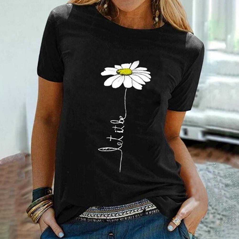2020 Frauen hohe Blumendruck hoch Halsrundhals Kurzarm T-Shirt mit hohem Kragen Sommer loses T-Shirt