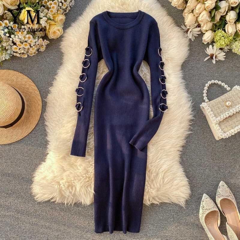 YuooMuoo Kore Moda Hollow Out Uzun Kollu Örme Triko Elbise Kadınlar Sonbahar Kış BODYCON Elbise İş Elbiseleri Büro 8oYW #