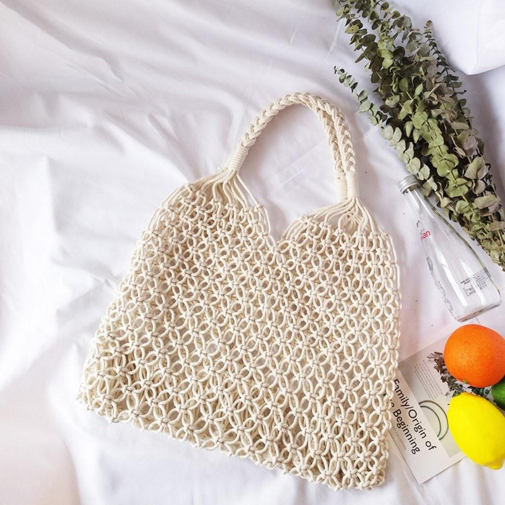 Minimalistic Artsy Vintage Mori Модная пустотела, Feave Bag Пакетный пляж Летние Хлопковые сумки Красивый и элегантный хорошо дизайн