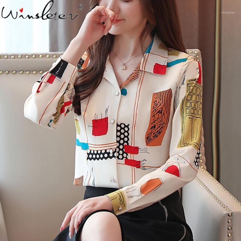Stampa donna Chiffon camicie 2020 autunno collar aurvolare a maniche lunghe camicette a maniche lunghe moda top monopetto t07713k1
