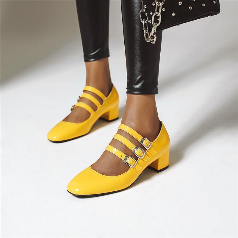 YMECHIC весна 2020 Мода Желтая партия Белая невеста Свадебная обувь коренастый пятки женщин насосы черное платье Офис Mary Jane Shoes