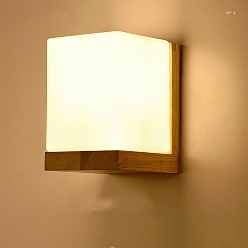 Luz de pared LED creativa de madera maciza de la lámpara de la lámpara de la lámpara de dormitorio de la lámpara de pared japonesa 1