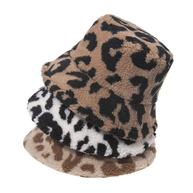 Coréen Femme Hiver Faux Lambeau Seau de laine Chapeau Vintage Léopard Motif imprimé Large Bronge Pêcheur chaude chaude chaude