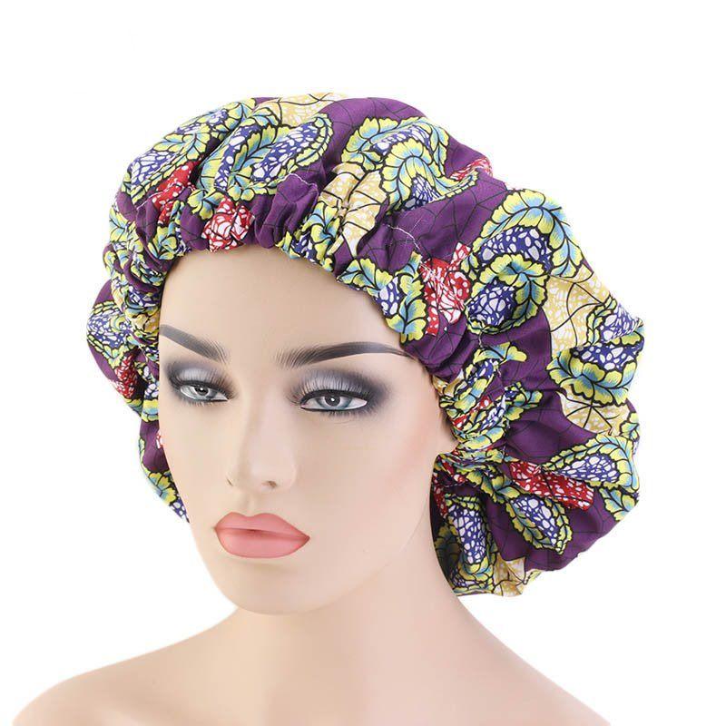 Mode Nouveau Extra Large Afrique Imprimé Bonnet Tissu Double Sleeping Cap Avec élastique large Brim Coiffe 12 couleurs en gros