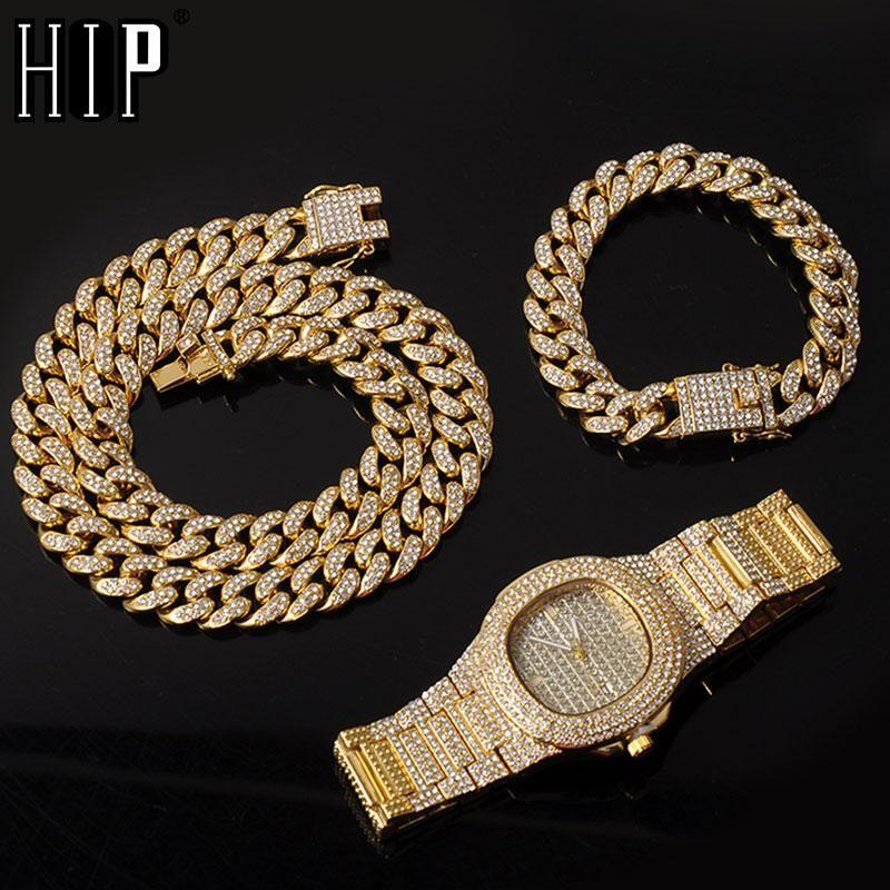 Collier + Montre + Bracelet kit de Hip Hop Miami Curb chaîne cubaine or pleine Glacé Pavée strass CZ bling pour les hommes Bijoux