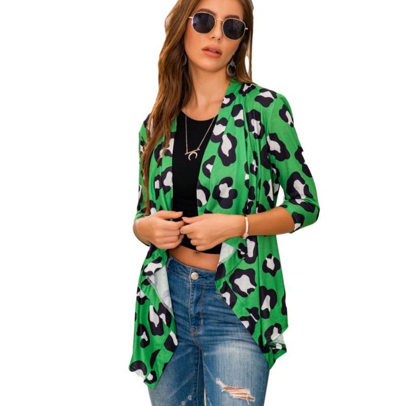 New women's autumn and winter long-sleeved printing loose shawl jacket cardigan jacket women polyester
