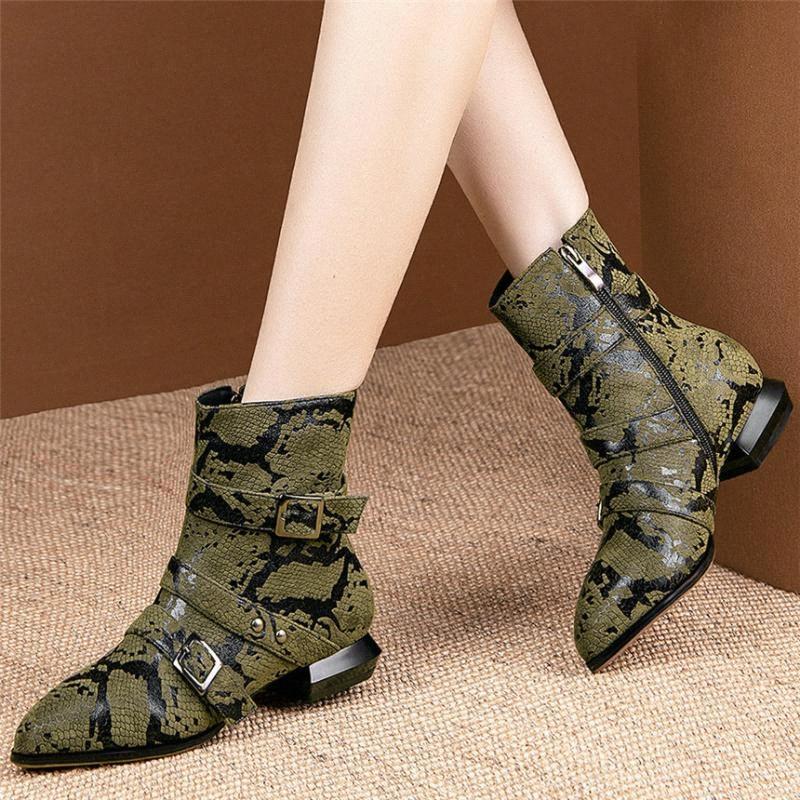 Chic hebilla de los zapatos de las mujeres patrón de la serpiente de tacón bajo las botas del tobillo clava los pernos prisioneros Mujer punta estrecha plataforma bombea los zapatos casual Nueva s9k5 #