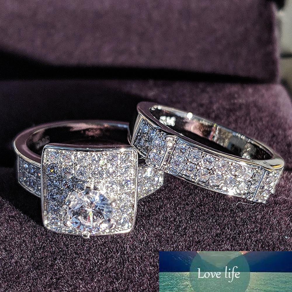 925 Sterling Silver Anel de Casamento Set para Mulheres Noivado Feminino Anniversary Party Presente Atacado Marca Jóias Moonso R4990
