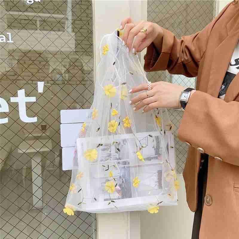 Stelle! Weibliche Garn Blume Einkaufen Organza Sommertasche Frau Neue Tasche Lässig Niedliche transparente Mesh Stickerei Fairy Hand Handtaschen RBWXI
