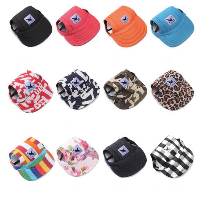 12 Farben Hundehut Haustier Baseballkappe Hunde Sport Hut Visierkappe mit Ohrlöchern und Kinnriemen für Hunde und Katzen Hundehut für S M L XL Größe