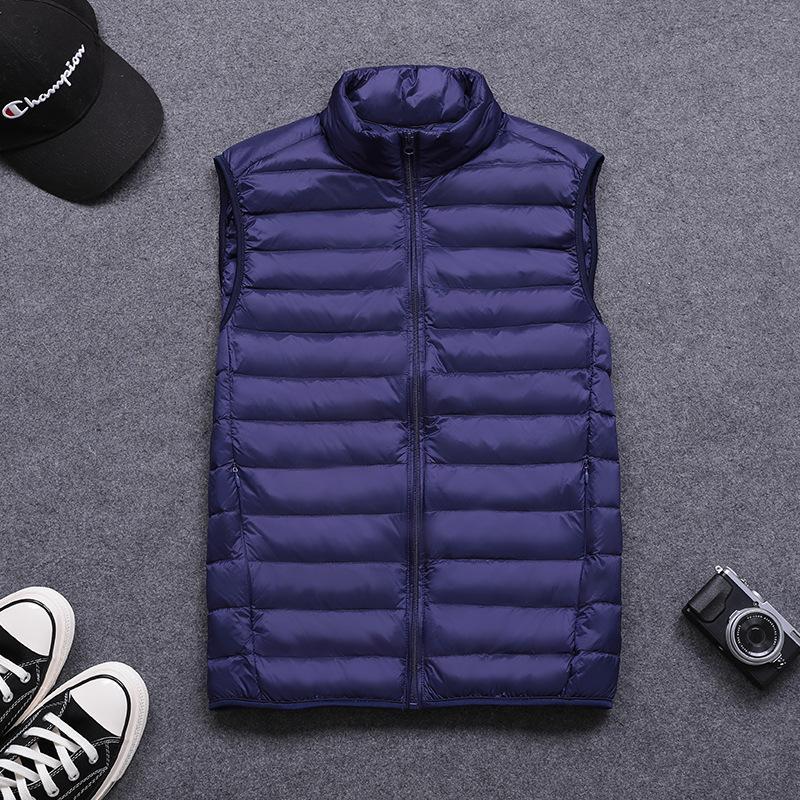 Ultraligero mangas abajo chaqueta de la manera del collar del soporte de gran tamaño sueltos Chaleco de invierno nuevos hombres blancos Gb15268 Kg 74cm
