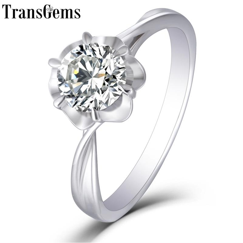 TRANSGEMS 14K 585 branco ouro 1ct 6.5mm f cor de noivado de moissanite para mulheres casamento casamento senhoras anel moissanite 201223