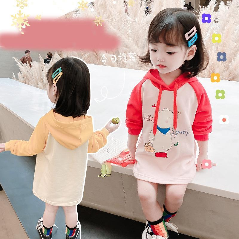 Wholesale Newest INS Kids Little Girls Hoodies Dresses Cartoon Designer Lovely Princess Children Girls Streetwear Bountique Clothes Tees