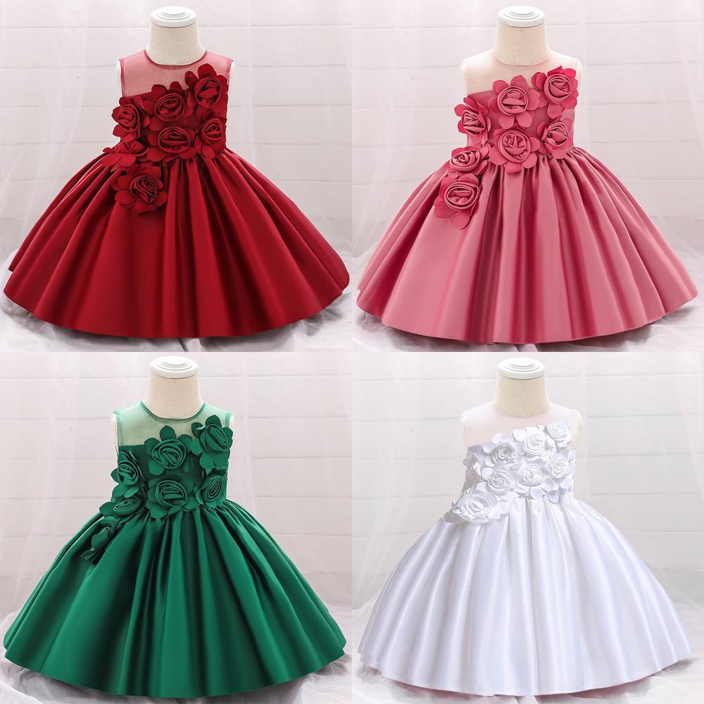 2020 зима новорожденного девочка платье крещение платье для девушки одежда цветочные белые свадебное платье принцесса 1-й день рождения детские платья q1223
