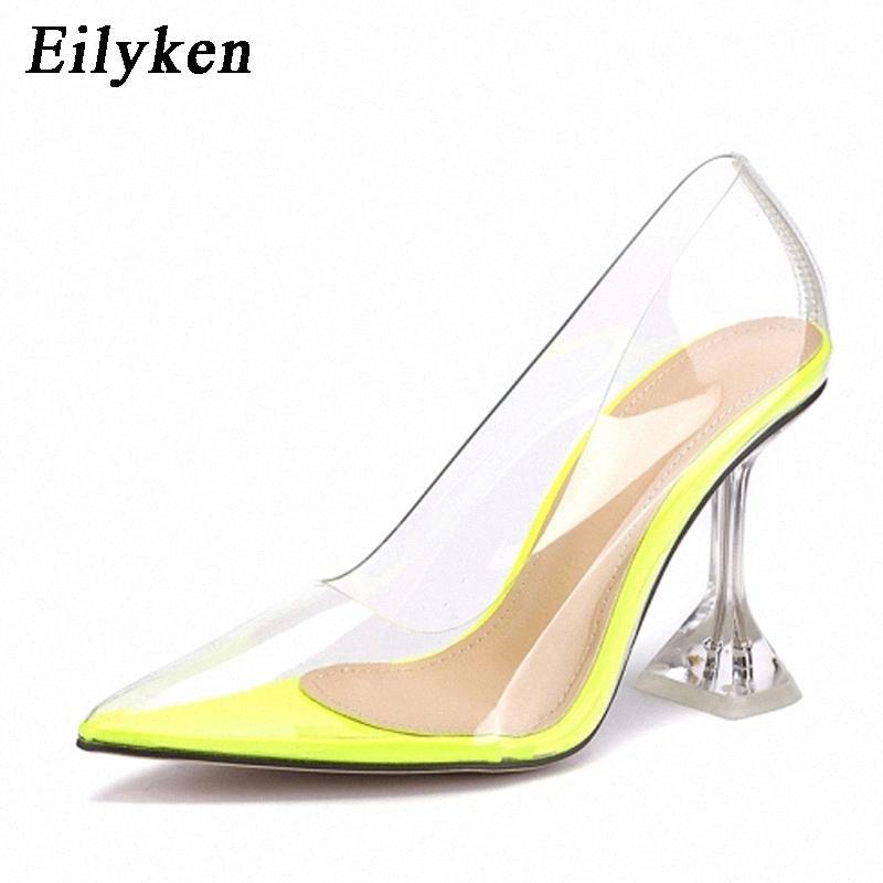 Eilyken Temizle PVC Şeffaf Pompalar Sandalet Garip Stil Perspex Topuk Noktası Toes Bayan Parti Ayakkabı Gece Kulübü Pompaları 35-42 # G46i