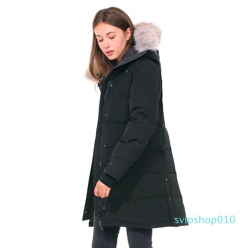 Winter Canada Women Parka Thick Warm Fur Removable Hooded Down Jacket Women's Slim Coat High Quality Doudoune