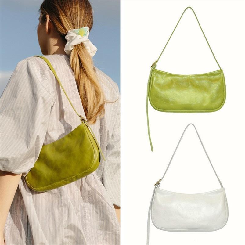 2019 Verde na moda Primavera-Verão Branco Único Strap Bolsas PU Leather Zipper Shoulder Bag feminina bolsa