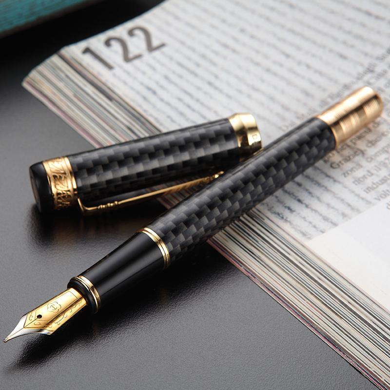 Héros 768 stylo fontain gris de fibre de carbone avec clip doré iridium fine fine nib 0.5mm stylo d'encre de mode pour bureau cadeau entreprise 201202