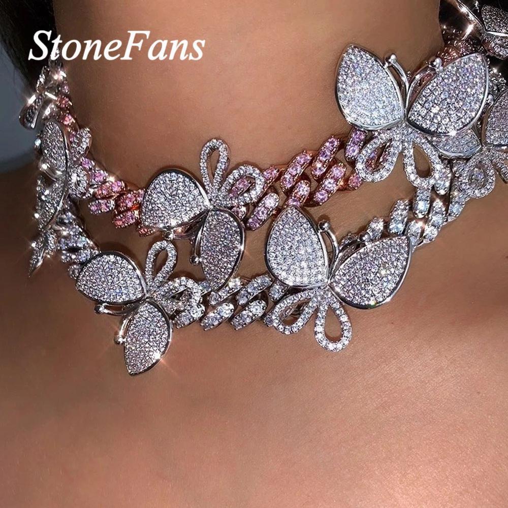 Stonefan Hip Hop Cuban Link Schmetterlings-Halskette für Frauen Statement Bling Rhinestone-Schmetterlings-Charme-Halskette Schmuck CX200724