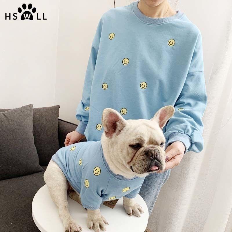 Весна и летнее Новый смайлик вышитый питомца свитер французский бульдог одежда и владелец костюм милый щенок 201026