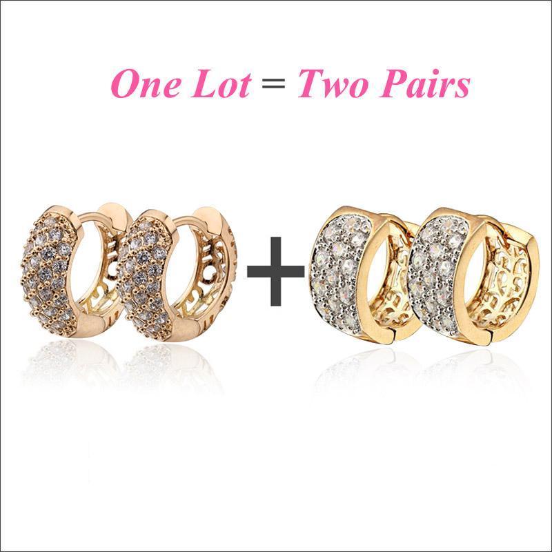 2AP / LOT GOLD EARINGS Kleine Reifen Ohrringe für Frauen Bijoux Femme Modeschmuck Brincos Ouro Pendientes Mujer Kupe Mädchen E2149