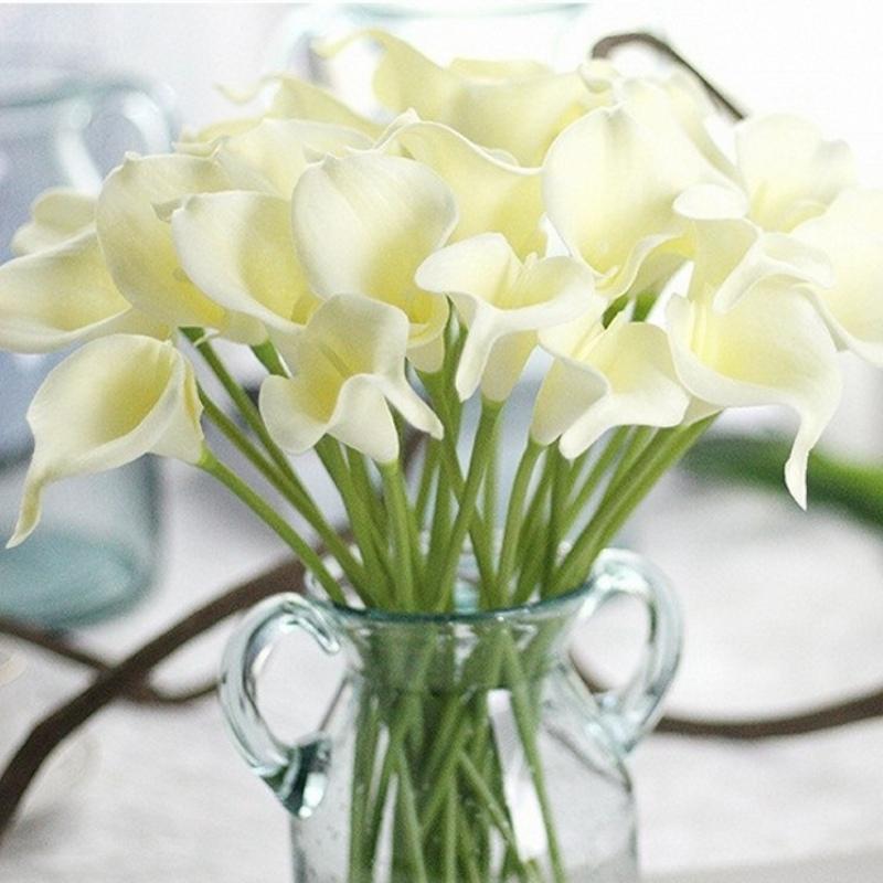 1 pcs faux lis artificiels décoratifs décoratifs PU Touche réel mini Calla Lily pour mariage maison de mariage table décoration fleur pas cher