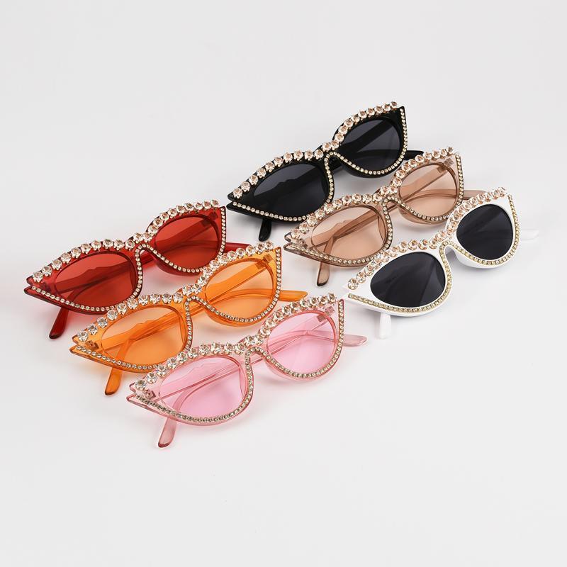Дизайнерские оттенки блестящие солнцезащитные очки мода алмазные глаза UV400 старинные очки CAT маленькие женщины бренда Sun Cateye солнцезащитные очки Eyewear HIDBL