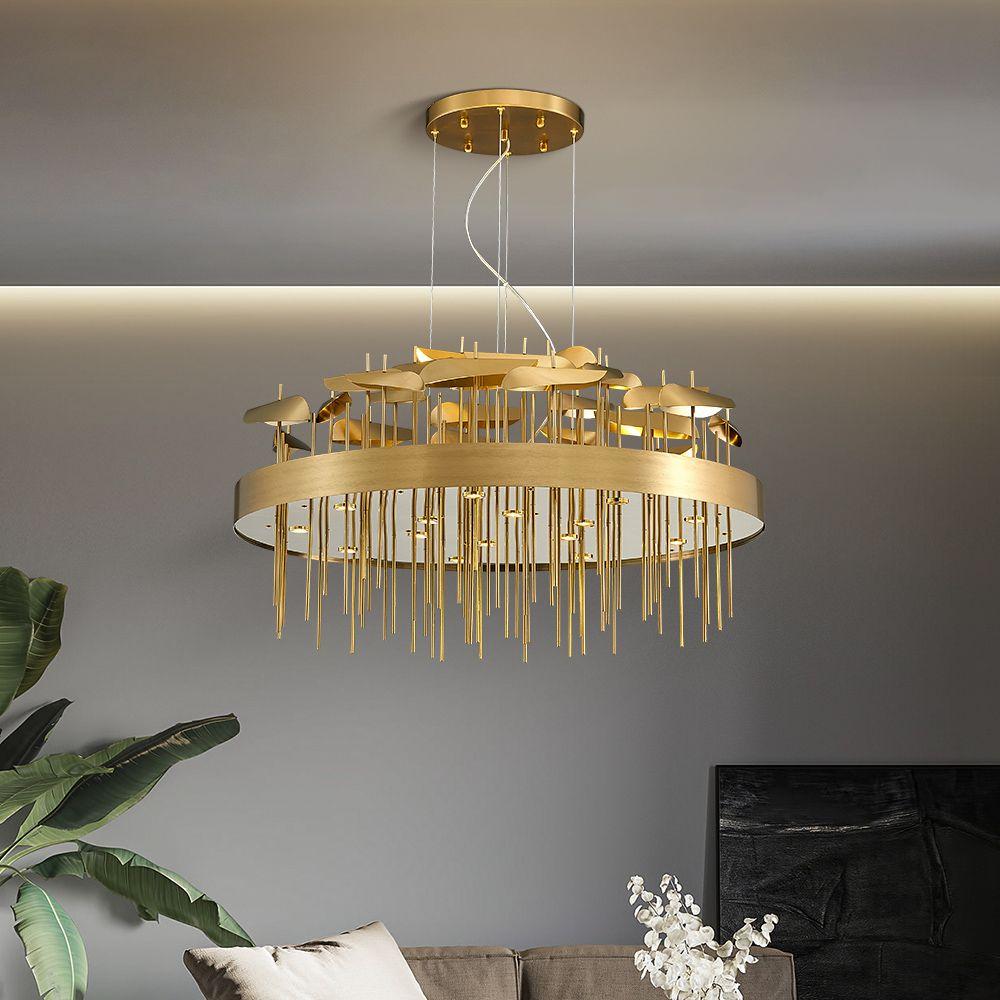 Nouveau brevet éclairage lustre moderne pour vivre l'or brossé de la pièce a conduit luminaires lumière lustre lampe de décoration de la maison
