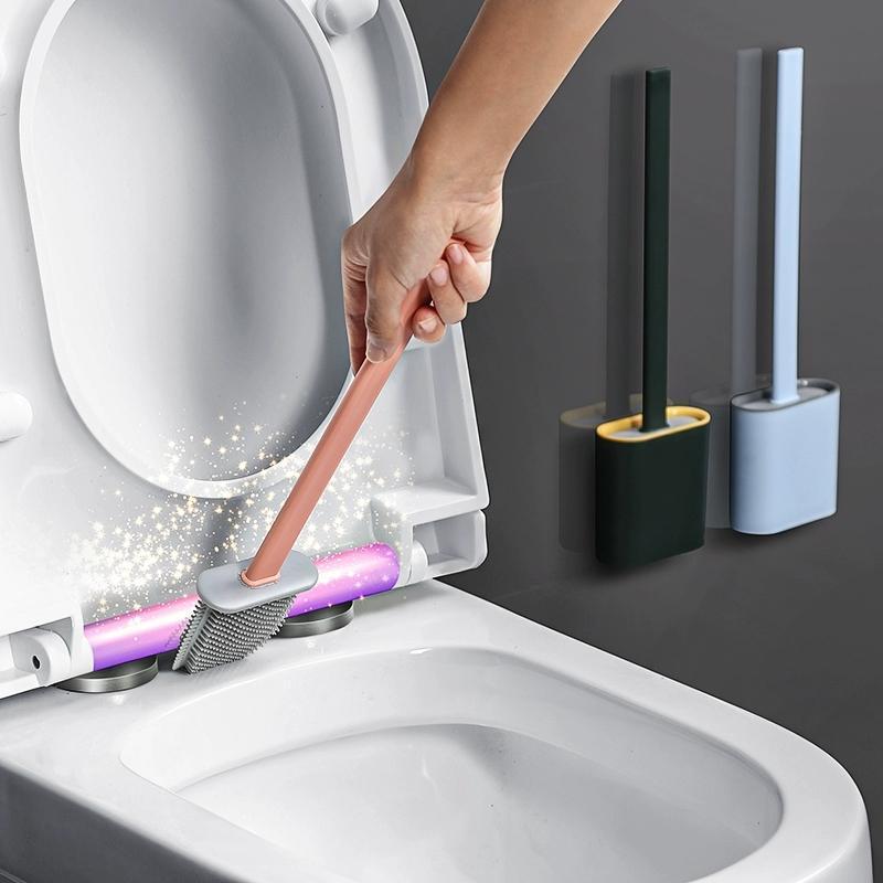 GURET Silikon TPR Tuvalet Fırçası İçin Banyo Aksesuarları Hayır Ölü Açısı Temizleme Fırçası Tuvalet drainable Daire Temizleme Araçları için