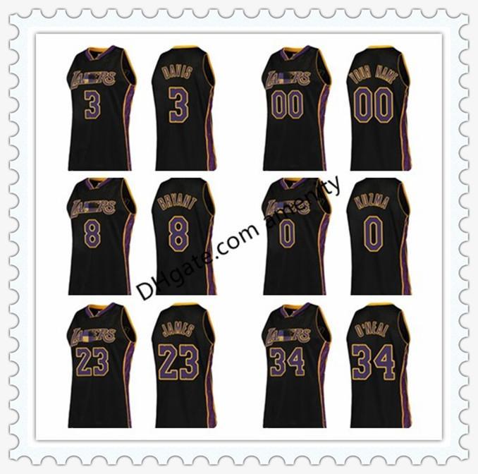 Los AngelesLakersDavis 8 Bryant 0 KUZMA 23 James 34 O'Neal Ringe Basketball Schwarz Anthony Kyle LeBron Collection Jersey