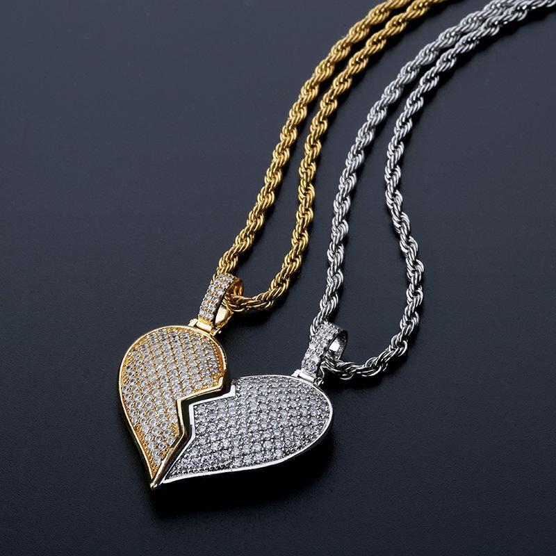 Broken Heart Abnehmbarer Doppelknöpft Paar Hip-Hop-Anhänger Edelstein-Massiv Halskette neu