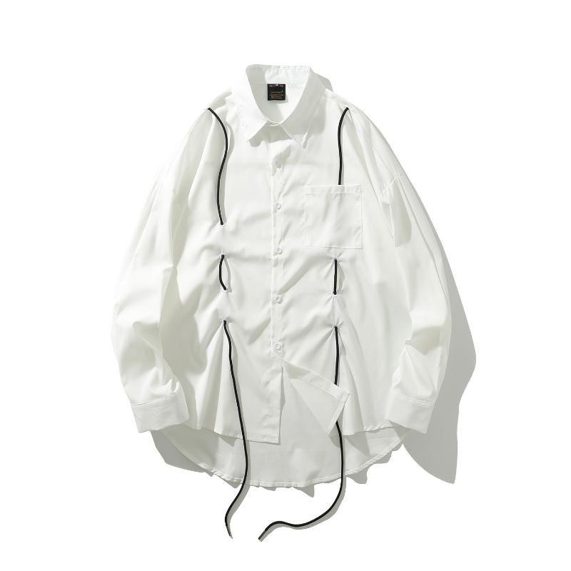 # 1668 T-shirt bianca con coulisse Mens manica lunga Streetwear Hip Hop uomo allentato casuale della camicia degli uomini a maniche lunghe High Street