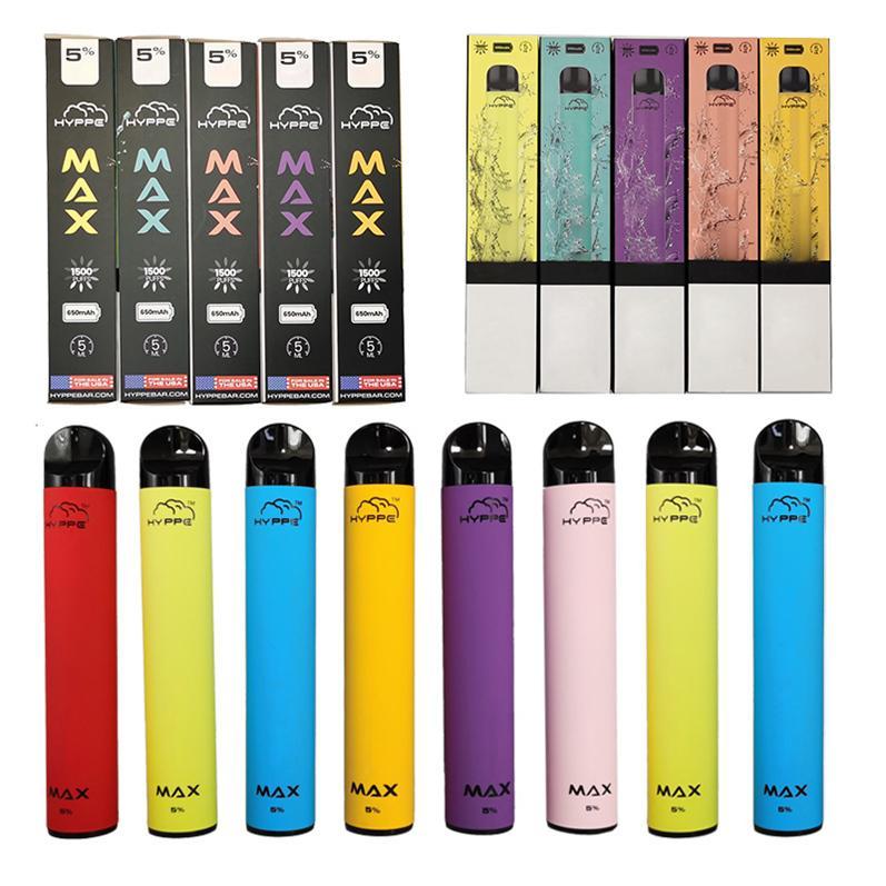Hyppe dispositivo Max Vape vaina desechable Vape PEN E cigarrillos Vape Kits 5ML 1500Puffs vainas vacías de embalaje 650mAh batería vaporizador Pen E Cig