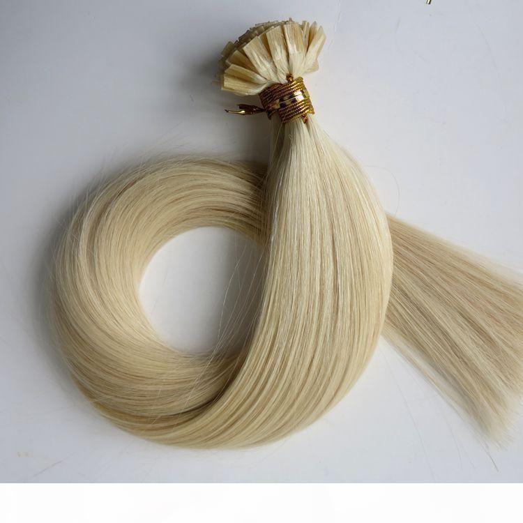 Extensiones de cabello de punta plana previa 100 g 100strands 18 20 22 24 pulgadas # 60 platino rubio marrón brasileño indio keratina cabello humano